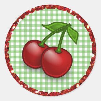 Green Gingham Cherries Stickers