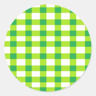 Green Gingham Classic Round Sticker