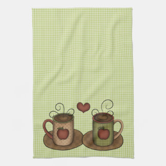 Green Gingham Coffee Time Kitchen Towel