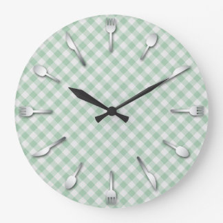 Green Gingham Kitchen Clock - Country Western