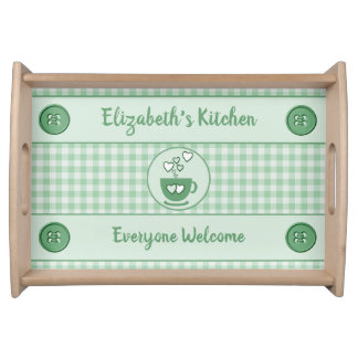 Green gingham name kitchen serving tray