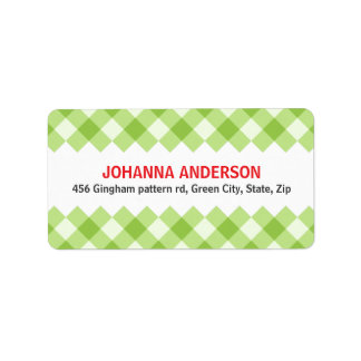 Green gingham pattern checkers return address