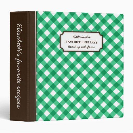 Green gingham pattern personalized recipe book binder zazzle for Zazzle custom t shirts