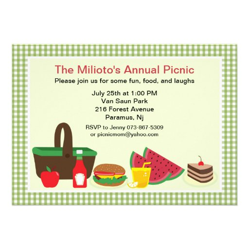 Green Gingham Picnic or Barbecue Invitation