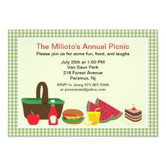 """Green Gingham Picnic or Barbecue Invitation 5"""" X 7"""" Invitation Card"""