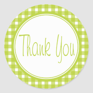 Green Gingham Thank You Plaid Checks Wedding Classic Round Sticker