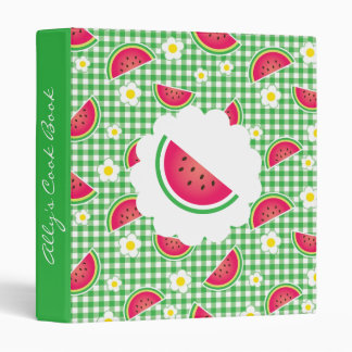 Green Gingham Watermelon Recipe Binder