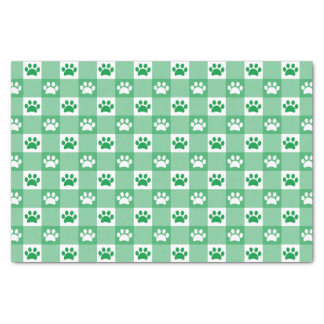 Green Gingham with Paws Tissue Paper