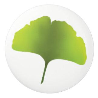 Green Ginko Leaf knob Ceramic Knob
