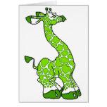 Green Giraffe Greeting Card