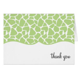 Green Giraffe Print Thank You Notes