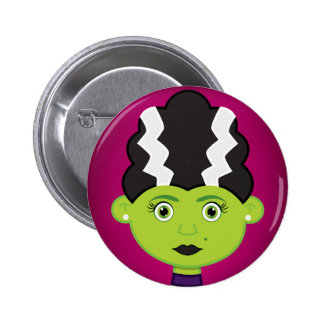 Green girl monster 2 inch round button