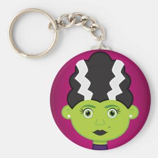 Green girl monster basic round button keychain
