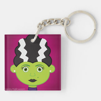 Green girl monster Double-Sided square acrylic keychain