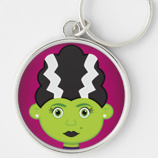Green girl monster Silver-Colored round keychain