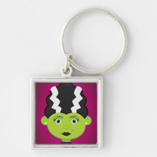 Green girl monster Silver-Colored square keychain