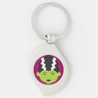Green girl monster Silver-Colored swirl keychain