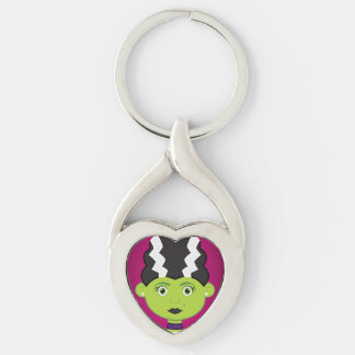 Green girl monster Silver-Colored twisted heart keychain