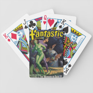 Green Girl vs Duck Bats Bicycle Playing Cards