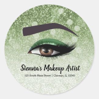 Green glam lashes eyes | makeup artist classic round sticker