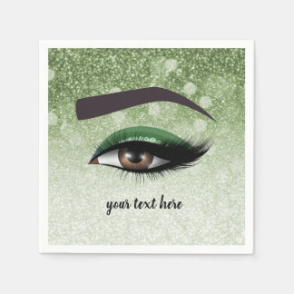 Green glam lashes eyes | makeup artist paper napkins