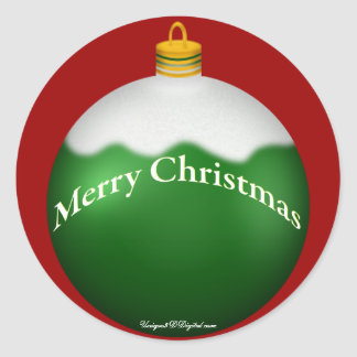 Green Glass Globe Christmas Ornament Classic Round Sticker