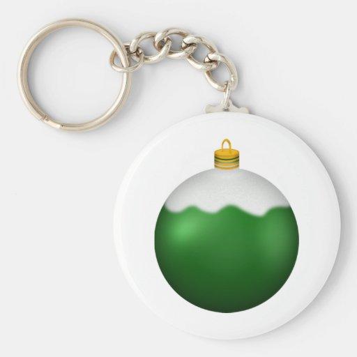 Green Glass Globe Christmas Ornament Key Chains