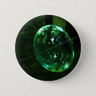 Green Glass Raindrop 2 Inch Round Button