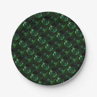 Green Glass Raindrop Paper Plate