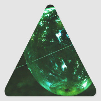 Green Glass Raindrop Triangle Sticker