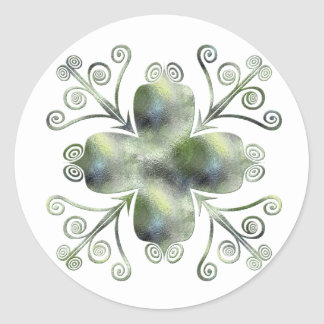 Green Glass Texture Scrolled Design Stickers