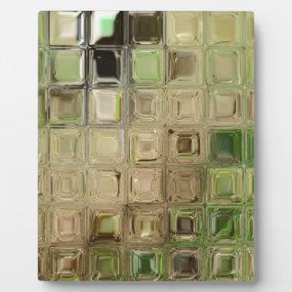 Green glass tiles plaque