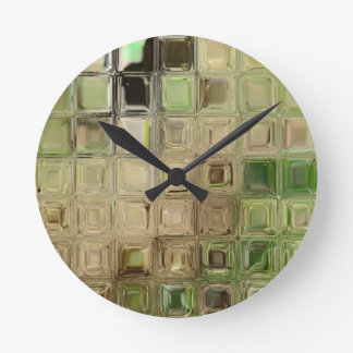 Green glass tiles round clock