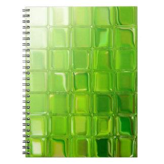 Green glass tiles spiral notebook