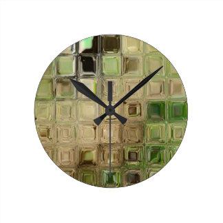 Green glass tiles wallclocks