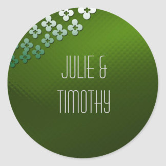 Green glass with flowers classic round sticker