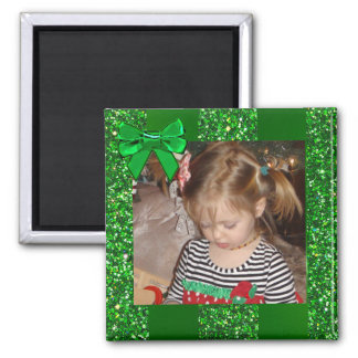 Green Glitter Bow Personalized Christmas Magnet