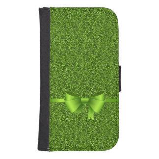 Green Glitter Bow Ribbon Samsung S4 Wallet Case