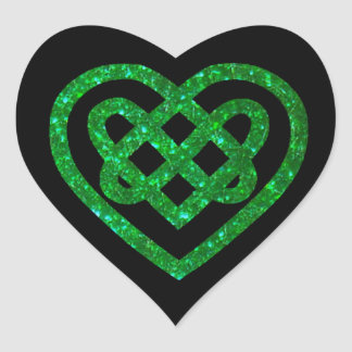 Green Glitter Celtic Heart Knot Stickers