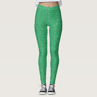 Green glitter effect leggings