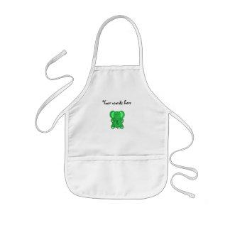 Green glitter elephant kids apron