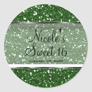 Green Glitter Glam Sweet 16 Custom Party Favor Classic Round Sticker