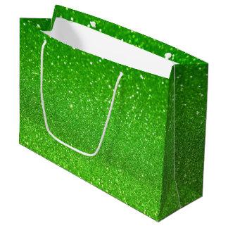 Green glitter large gift bag