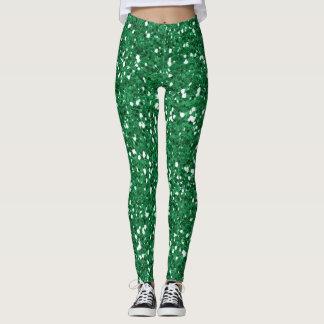 Green glitter leggings