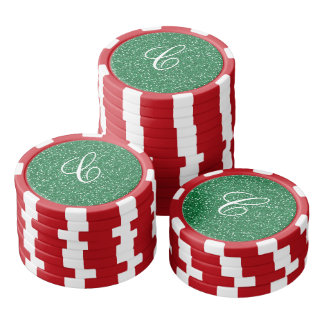 Green Glitter Monogram with Red and White Stripes Poker Chips