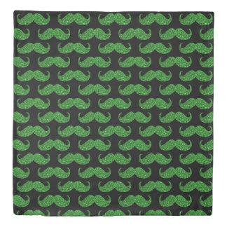 Green Glitter Mustache Duvet Cover