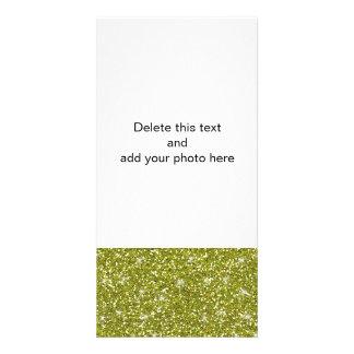 Green Glitter Printed Photo Greeting Card