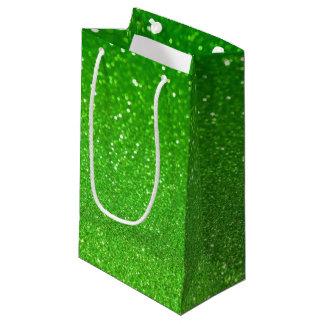 Green glitter small gift bag