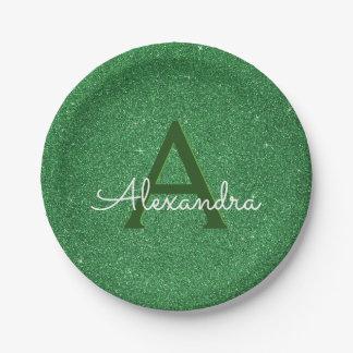 Green Glitter & Sparkle Monogram Irish Paper Plate