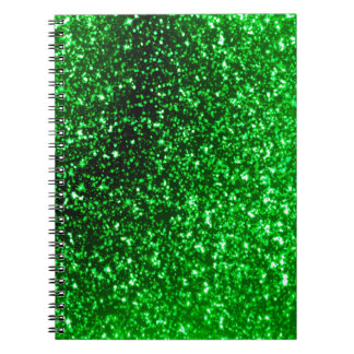 Green Glitter Spiral Notebook